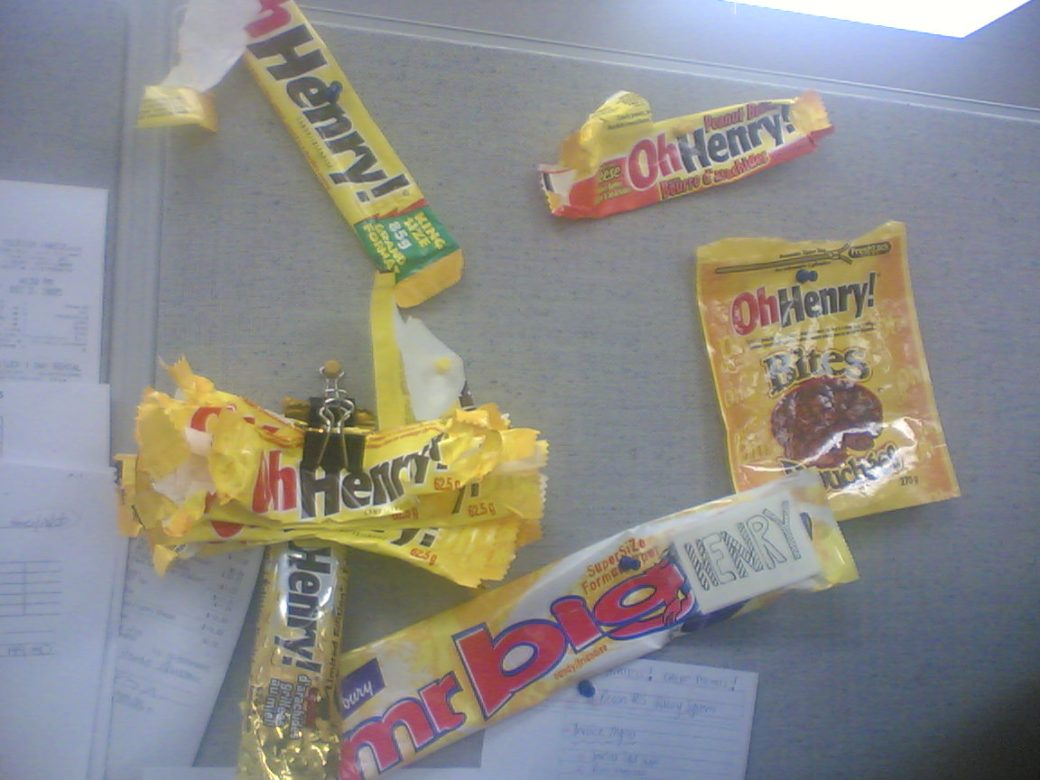 My collection of Oh! Henry wrappers! Which grew a lot! (I ate none of these, people just stuck them there)