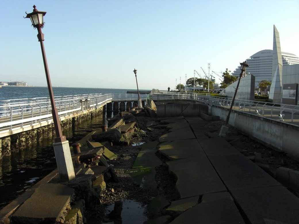 And good god I was in for a sight! This is Meriken Pier. That at least 6 inches of solid concrete ripped like paper!