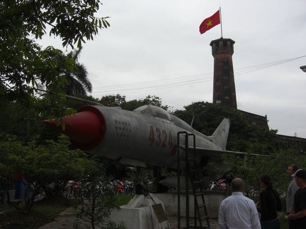 A MIG-21 - used for some heroic acts, and the flag tower
