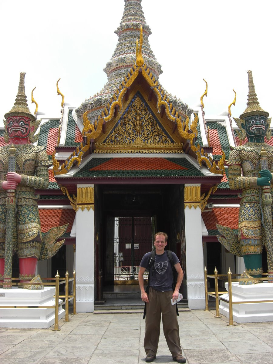 Me, in my new fisherman's pants, outside the temples...