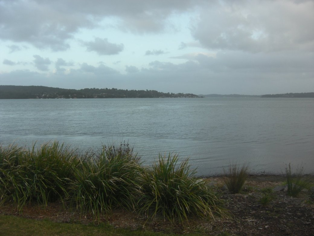 The view from outside Tracey's place (could have found a better day for it). I went for a walk round Lake Macquarie (the largest saltwater lake in Aus)