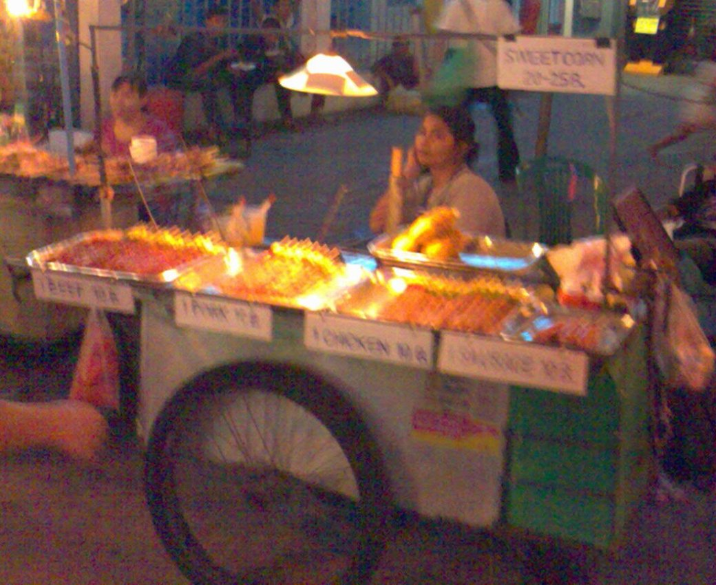 These carts are about at any time of day... street food... I tend to steer clear if I can... but Falafal from the one at the end of Khao San Road near Gullivers is great!!!