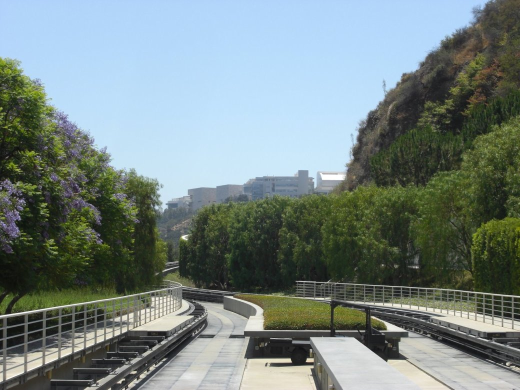 "The tram up to the Getty, and the first interesting ""on the tracks"" shot of the trip!"