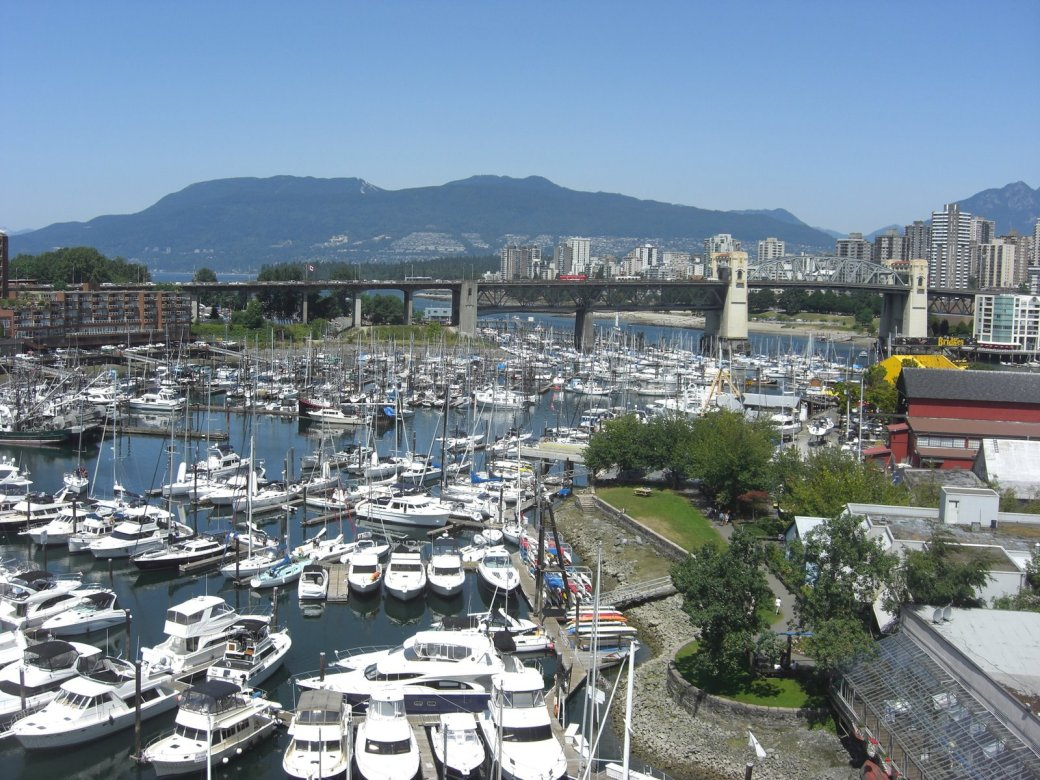 Wow there are a lot of boats near Granville Island Markets