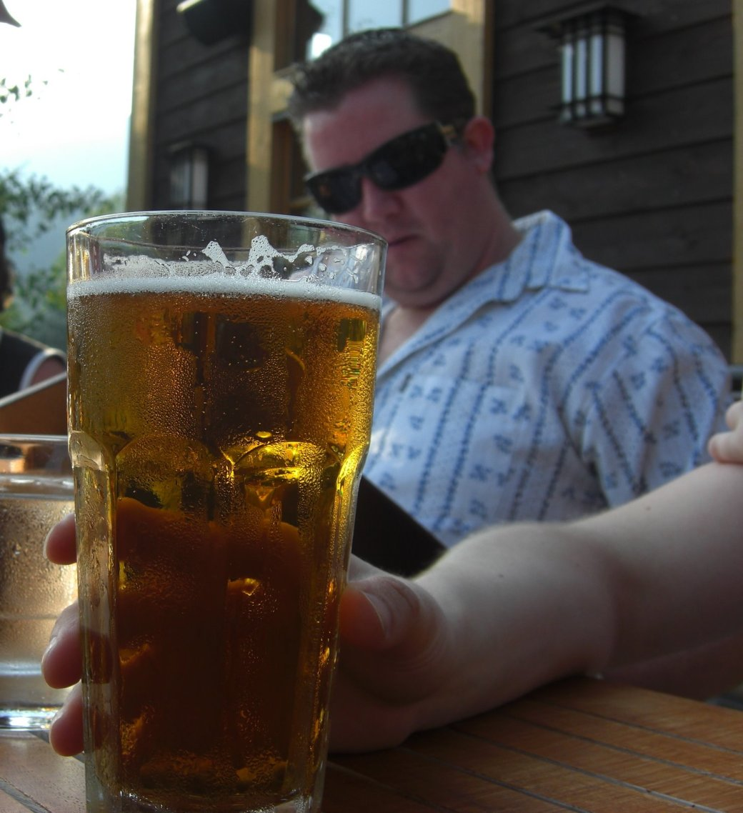 Shane drinking his favorite size beer