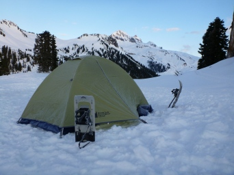 My mighty tent and snowshoes!