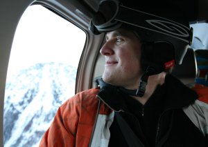 Me on a helicopter over Joffre Lakes Park in March 2012