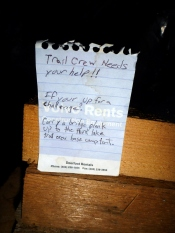 The trail crew's note asking for help.