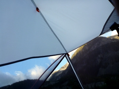 This is what I woke up to, the fly had blown off the tent!