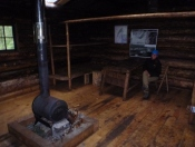 Inside the hut