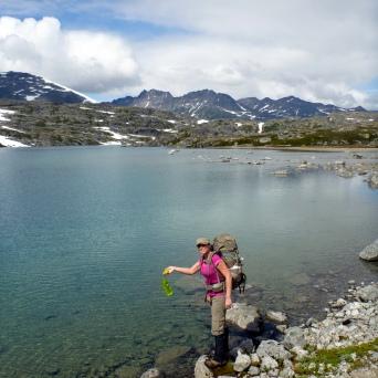 Hannah fishing for Nalgines