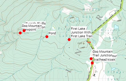 Dog Mountain with just the waypoints